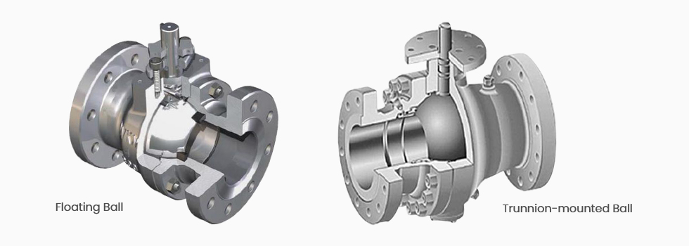 Internal structure of floating ball valve and trunnion-mounted ball valve