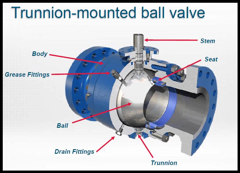 Tunnion mounted ball valve diagram