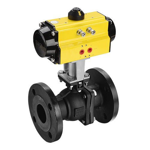 Actuated flange ball valve