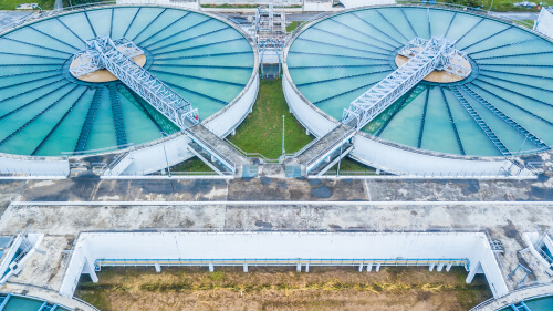 Aerial top view recirculation solid contact clarifier sedimentation tank