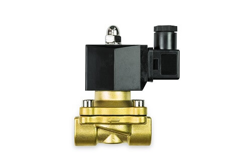 Close up of 24 VDC pilot operated brass body solenoid valve