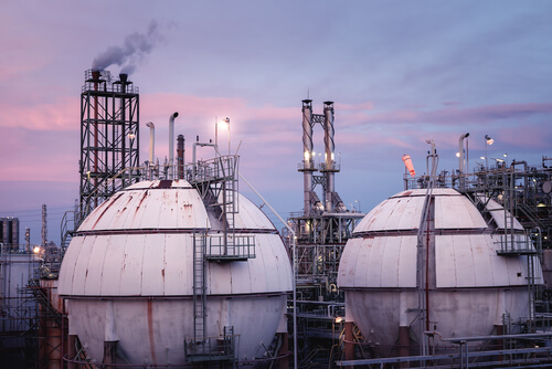 Close up of Gas storage sphere tanks in petrochemical industry at twilight