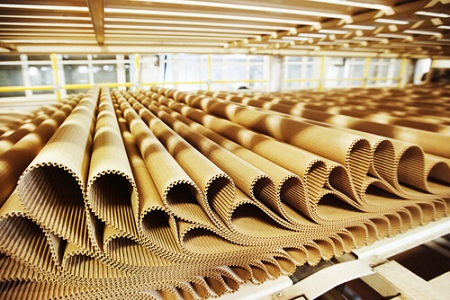 Closeup image of pleat cardboard row at factory background