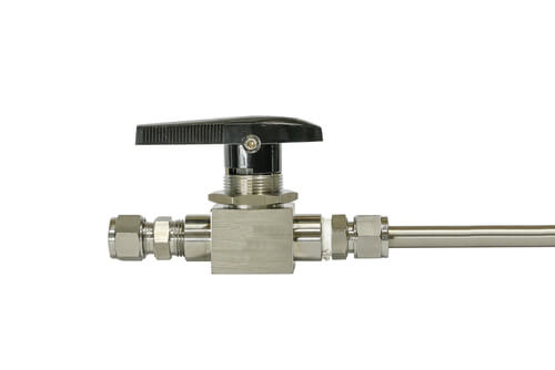 needle valve, niple stainless steel isolated on white background